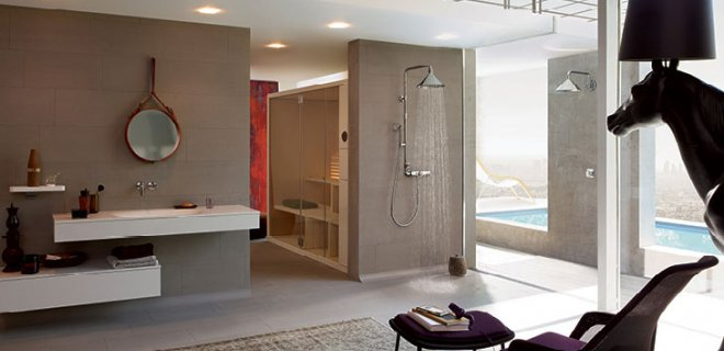 Industriële look in de badkamer met Axor Front douchecollectie