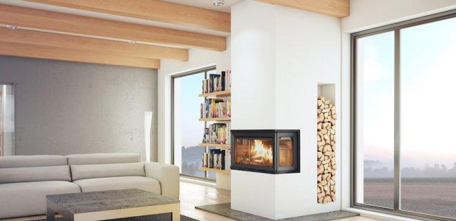 Jøtul haard met panoramisch zicht op vlammenspel