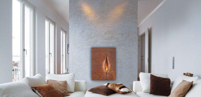 Deze ingebouwde open haard is een kunstwerk in je muur!