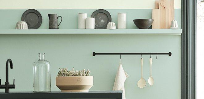Verf voor de keuken in trendy kleuren