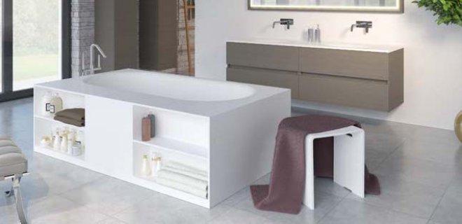 Mooi, luxueus & praktisch: Solid Surface baden met opbergruimte