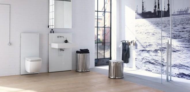 Stijlvolle badkamer met designmodule voor wastafel & toilet