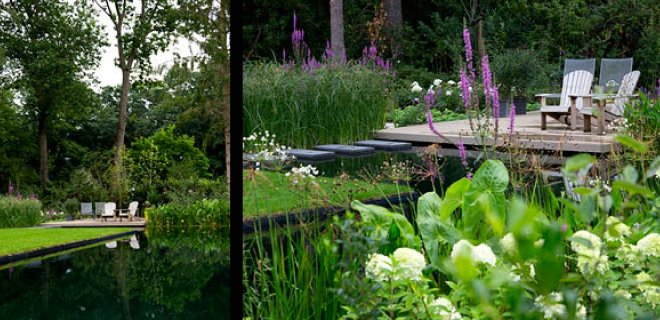 Tuin met prijswinnende ecologische zwemvijver