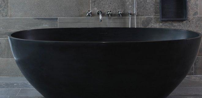 Gespot: vrijstaand bad in prachtige antraciet kleur