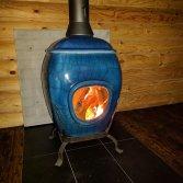 African Flame pothaard Blue Raku