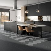 Blauwe steen vloer met een twist | Carrieres du Hainaut