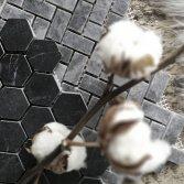 Designtegels Portugese cementtegel Mosaic Hexagone Border Negra
