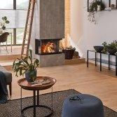 Driezijdige liftdeurhaard hout Ekko U84   Schmid