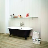 'houten' vinylvloer in de badkamer