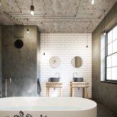 Industriële badkamer met geborsteld rvs