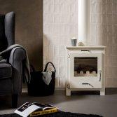 Compacte houtkachel in wit | Livin' flame