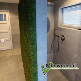 Groene moswand in de badkamer   Moswens