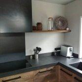Oud eiken keuken met blauwstaal