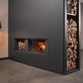 Doorkijkhaard 22-110 met houtblokken nis | Stuv
