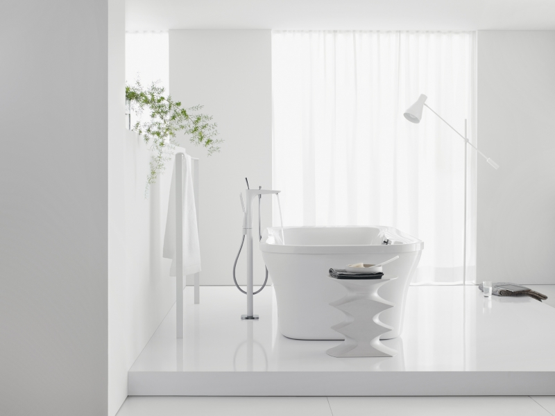 PuraVida ééngreeps staande badmengkraan met handdouche