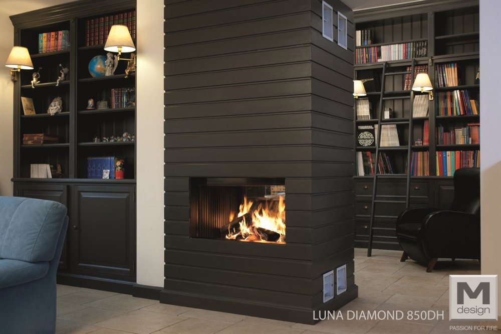 M-Design liftdeurhaard doorkijkhaard Luna Diamond