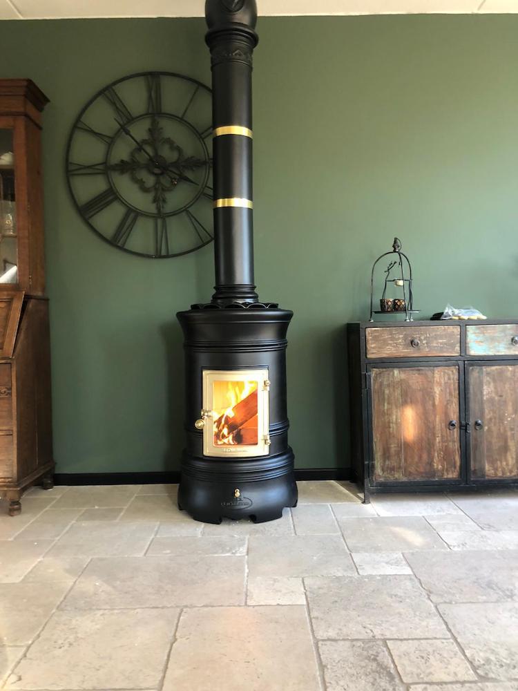 Keramische ronde kachel mat zwart | Art of Fire