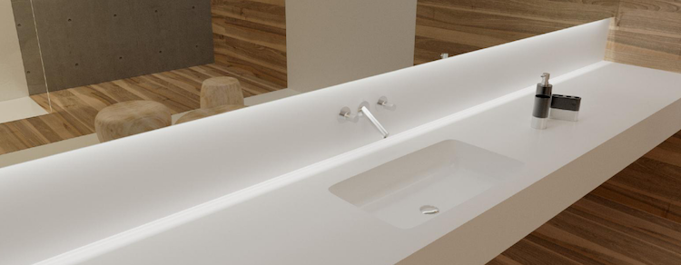 Solid surface wastafelbladen | Burgmans Sanitair