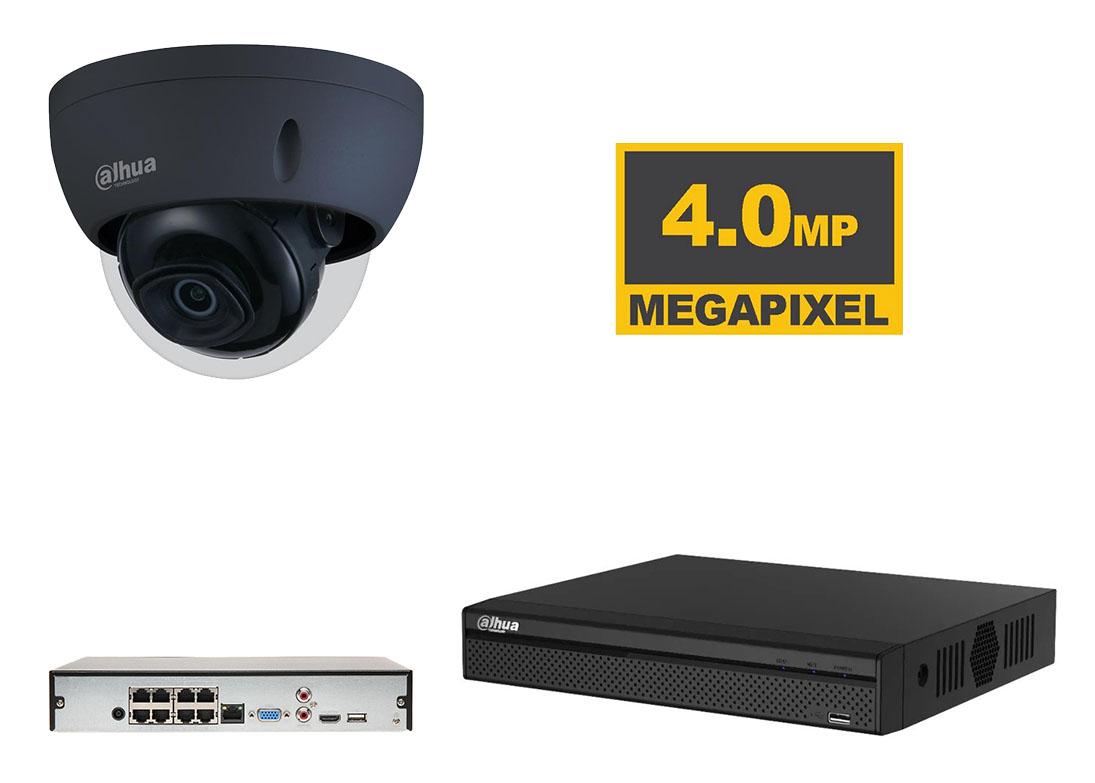 Dahua zwarte IP starlight bewakingscamera set met 4MP en anti vandalisme koepel