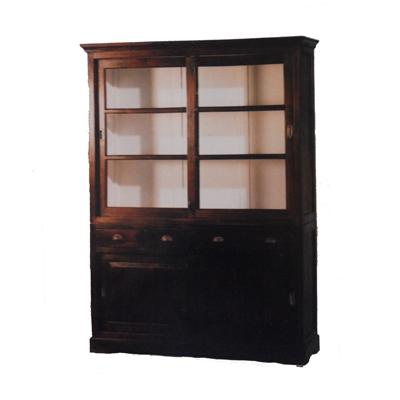 Dessa teakhouten en koloniale vitrinekasten