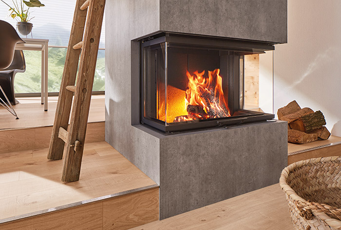 Driezijdige liftdeurhaard hout Ekko U84 | Schmid
