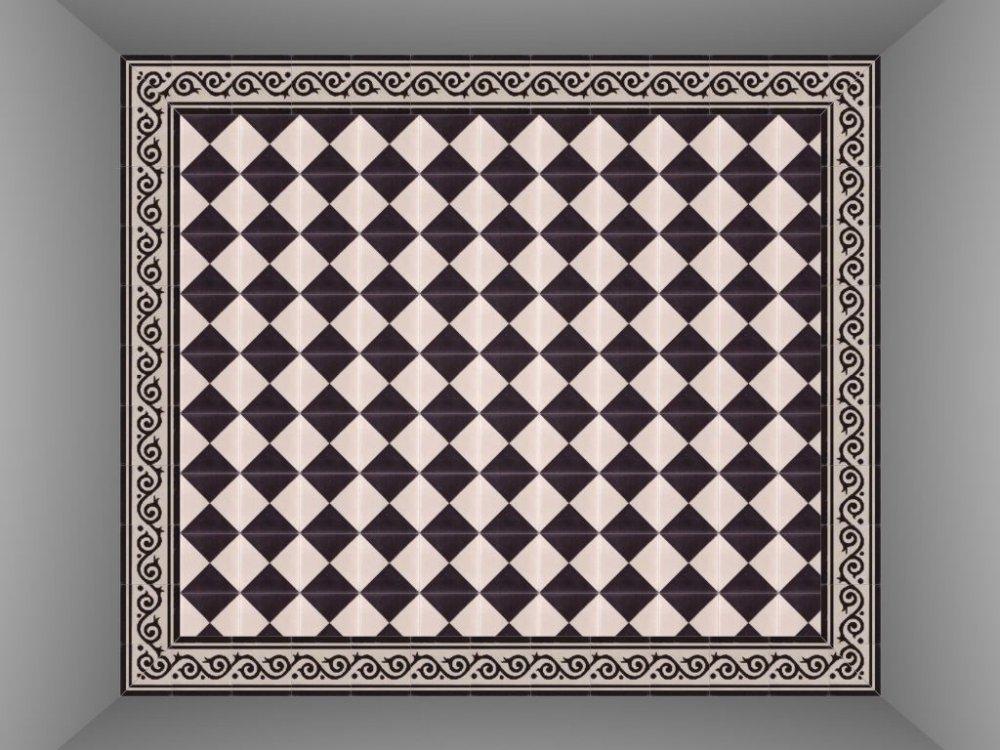 FLOORZ- Cementtegels zwart wit