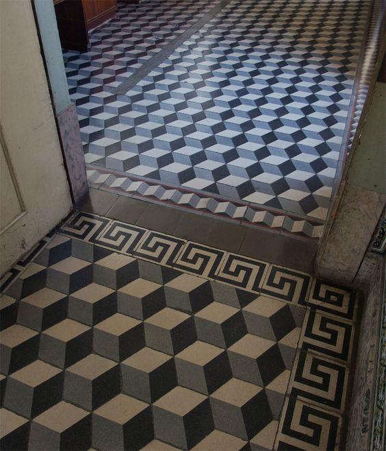 FLOORZ- Portugese cementtegels antiek Escher motief