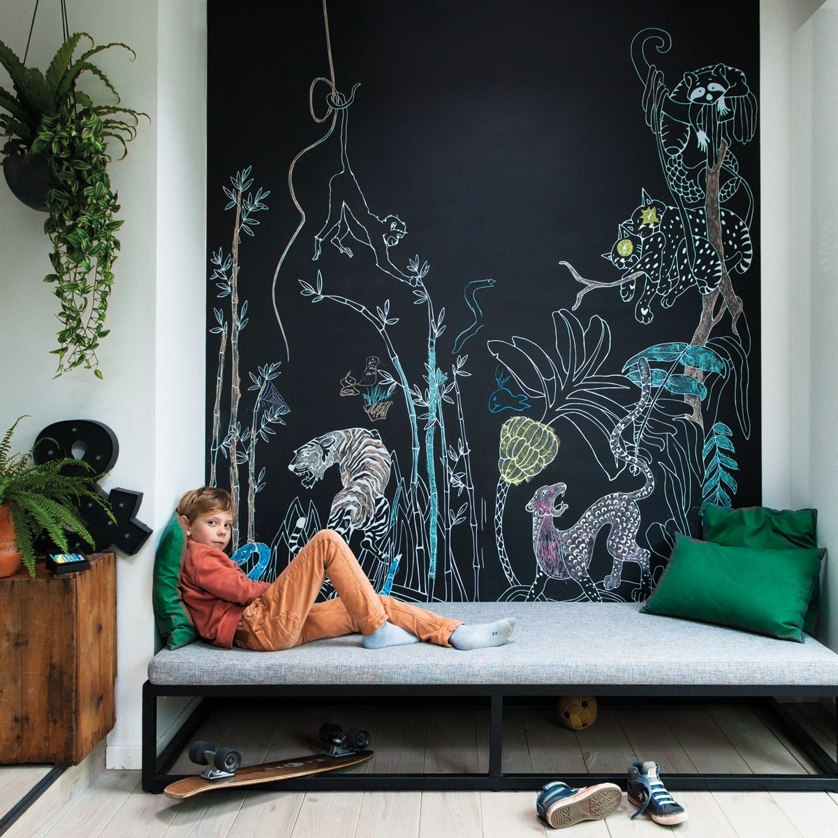 Krijtbord magneetbehang Jungle print | Groovy Magnets