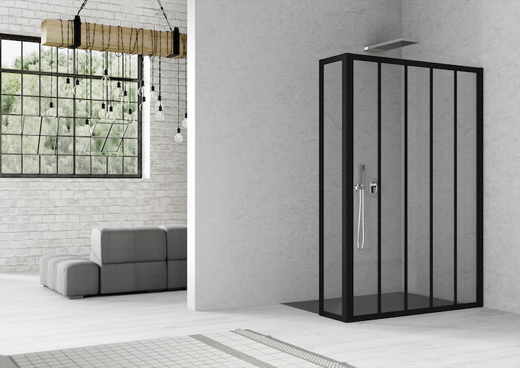 Stoere douchewand met hoek