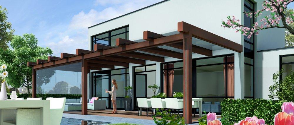 Jumbo terrasoverkapping hout product in beeld startpagina voor tuin idee n uw for Terras design