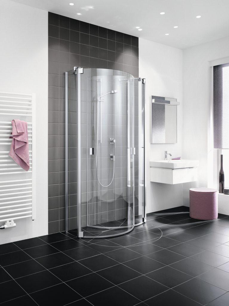 kermi halfronde doucheschermen product in beeld. Black Bedroom Furniture Sets. Home Design Ideas