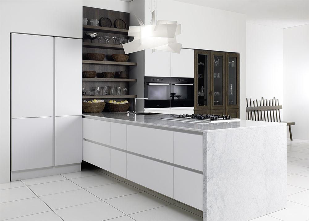 Keuken witte hoogglans - Hout en witte keuken ...