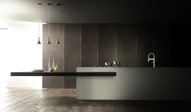 Minimalistische greeploze design keuken