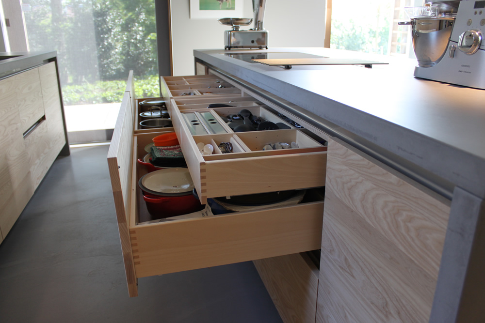 Super JP Walker houten keuken modern essen en beton - Product in beeld  IX31
