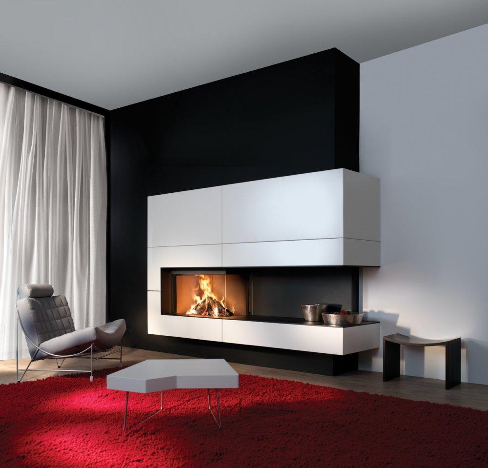 Kal fire heat pure 90 hoekhaard gesloten houthaard product in beeld startpagina voor haarden - Moderne hoek open haard ...