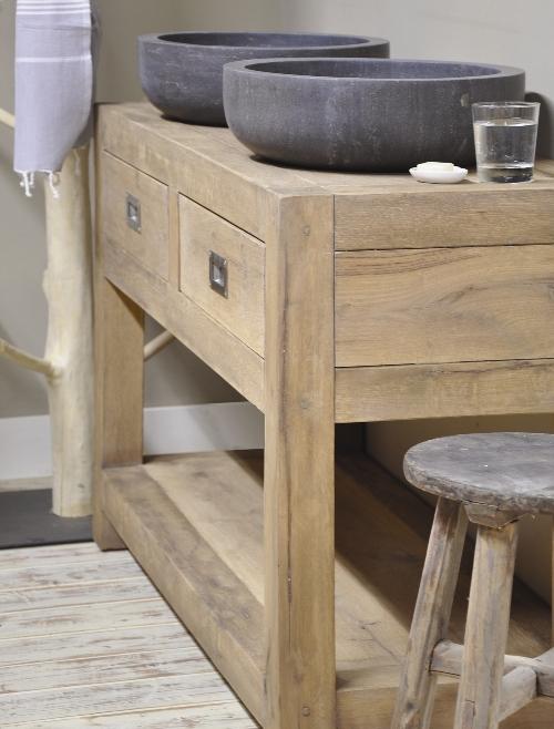 Betonnen wasbak met houten badkamermeubel   Product in beeld   Startpagina voor badkamer idee u00ebn