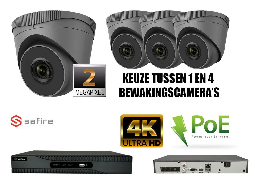 PoE ip camerabewaking set selectie 1 tot 4x IP camera 2MP antraciet