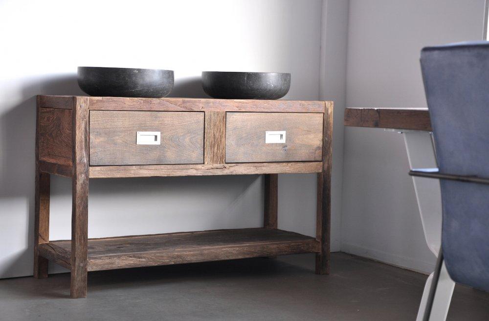 RestyleXL oud eiken badkamermeubel met RVS luikringen