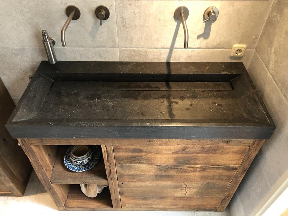Oud eiken meubel met hardstenen wastafel restylexl product in