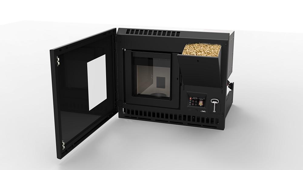 Rika interno pellet inzethaard product in beeld startpagina voor haarden en kachels idee n - Insert a pellet encastrable ...