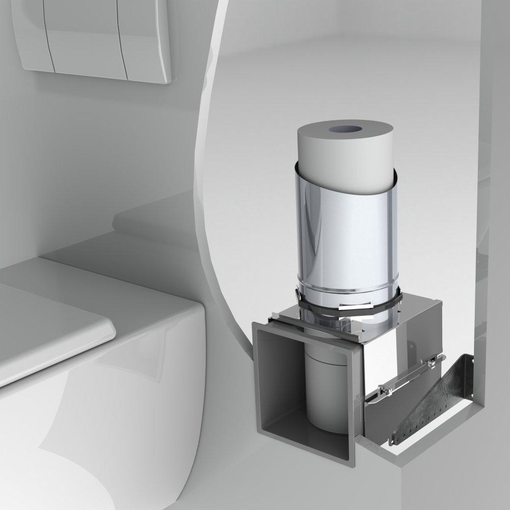 Stock4Rolls® inbouw reserve toiletrolhouder voor 12 rollen.