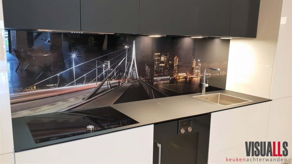 Visualls skyline op keukenwand