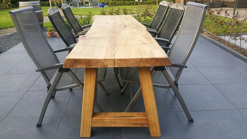 Eiken boomstam tuintafel | Woodindustries