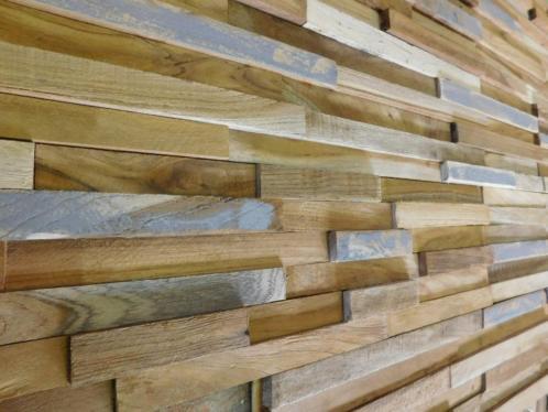 wrakhouten houtstrips teak wall