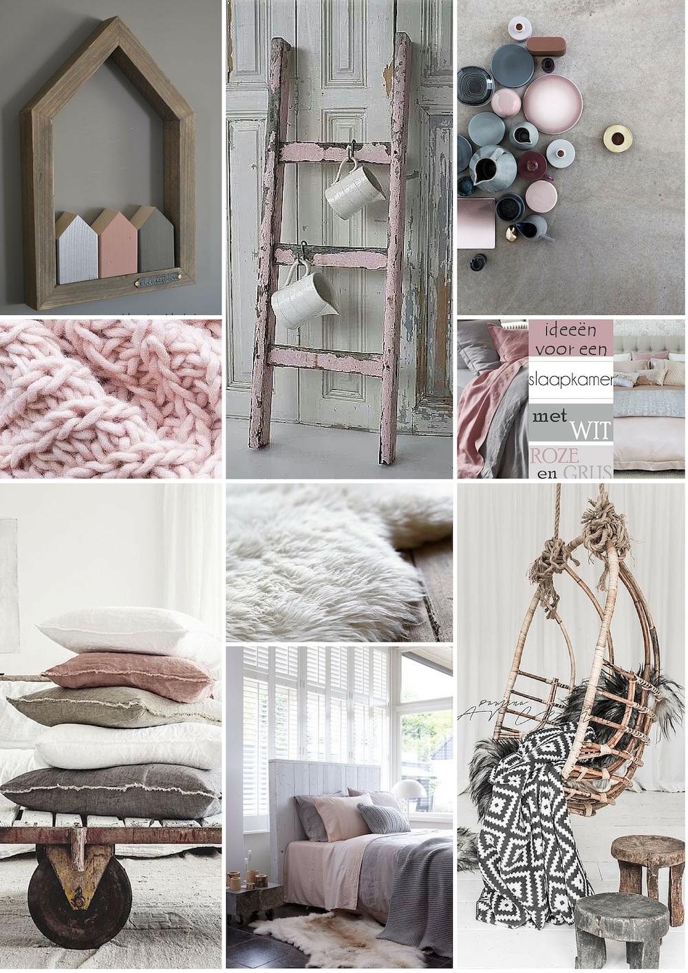 Moodboard slaapkamer meisje: roze, wit en grijstinten met hout accenten. Slappkamerruil via Styling ID