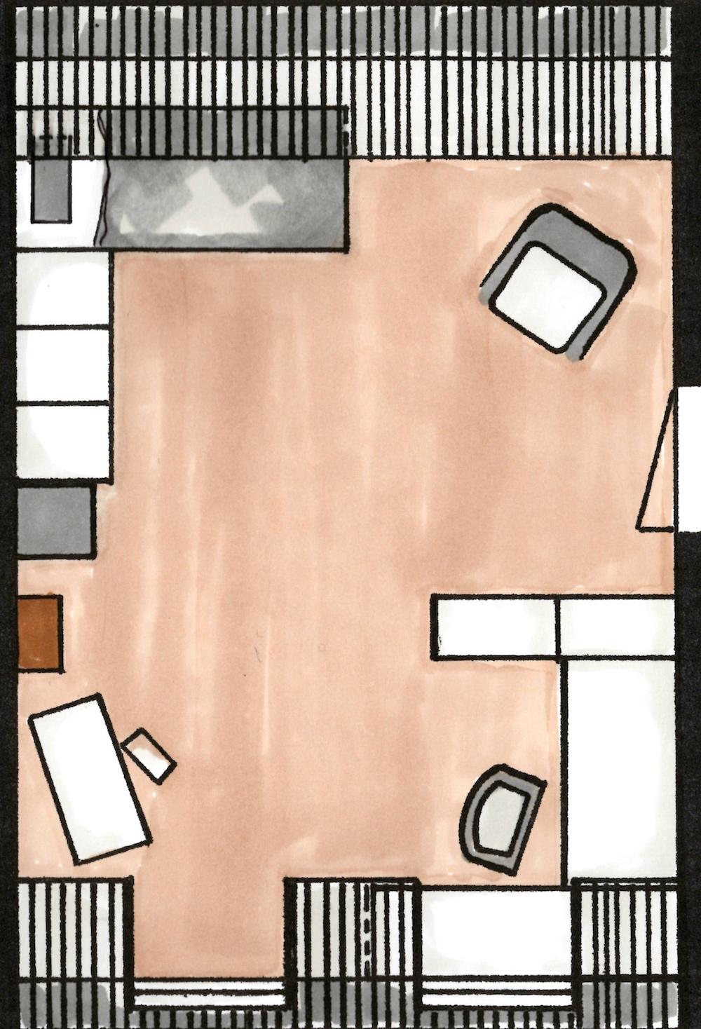 Slaapkamerruil StylingID - 2D tekening meisjeskamer