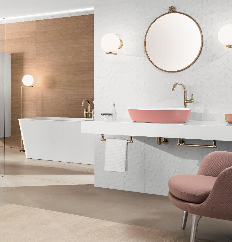 Blog UW-woonmagazine Kleuraccenten voor een sfeervolle badkamer roze Artis wastafel Villeroy and Boch