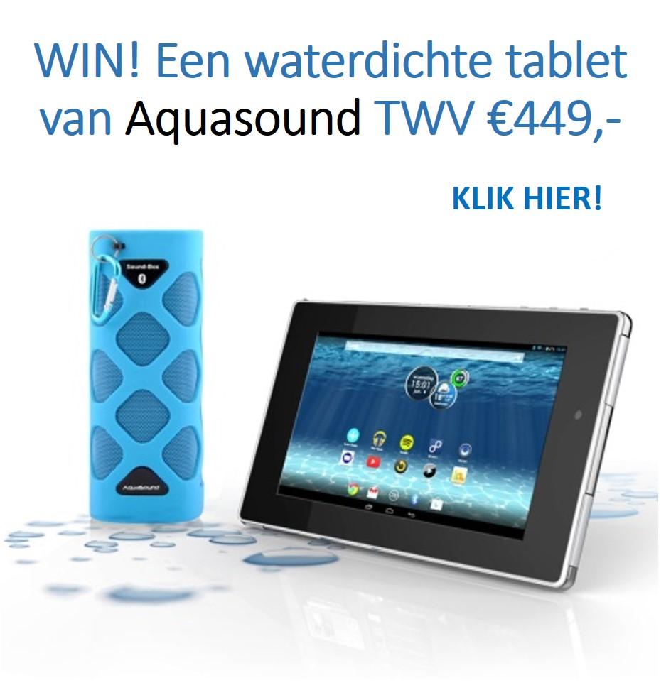 Win een waterdichte tablet voor de badkamer via Aquasound
