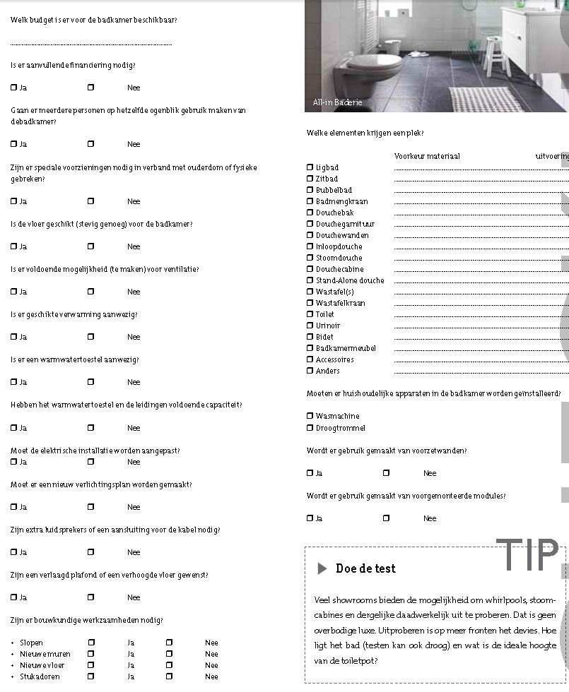 checklist nieuwe badkamer � devolonterinfo