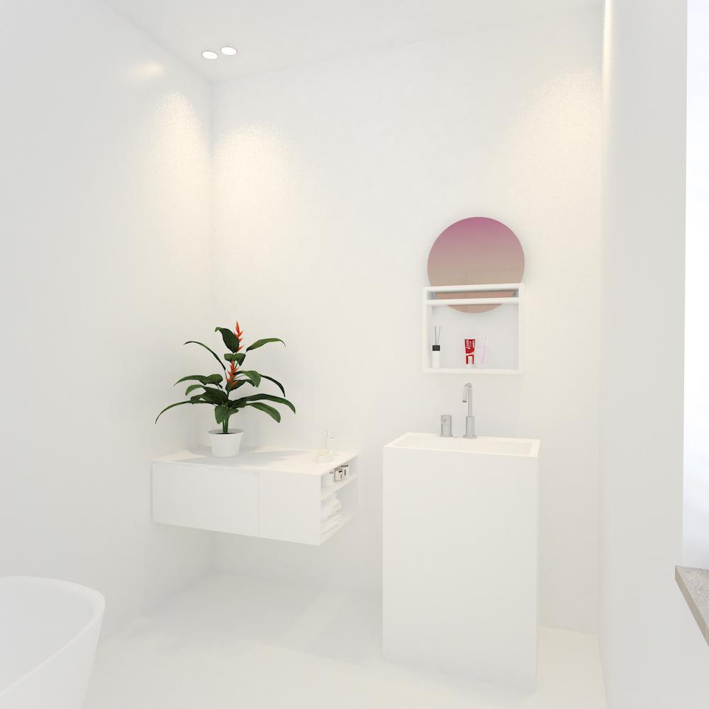 Marike badkamer design. Wastafel Pulse collectie, kast Solute serie en spiegel Sunrise #marike #badkamer #wastafel #spiegel #design